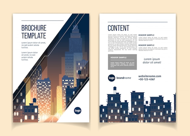 Folleto de dibujos animados con el paisaje urbano en la noche, megapolis con edificios modernos, rascacielos