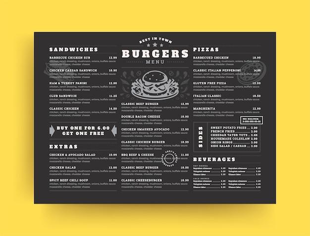 Folleto de diseño de diseño de menú de restaurante de hamburguesas