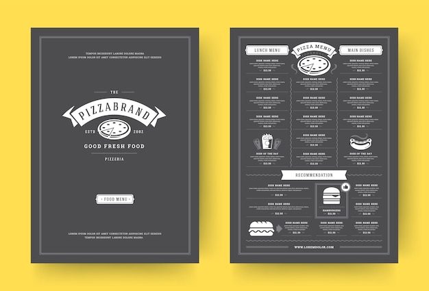 Folleto de diseño de diseño de menú de restaurante de pizza