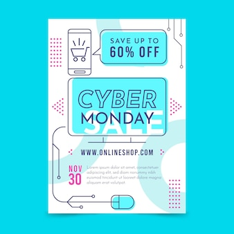Folleto de diseño plano de cyber monday