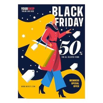 Folleto de diseño plano de viernes negro