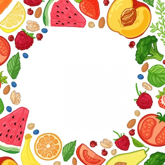 Folleto de diseño de plantilla con la decoración de la fruta patrón circular de alimentos naturales, frutas, verduras y bayas marco con decoración de comida vegetariana