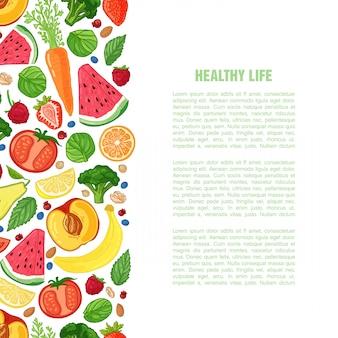 Folleto de diseño de plantilla con la decoración de la fruta patrón horizontal de alimentos naturales, frutas, verduras y bayas