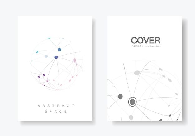 Folleto de diseño de portada con línea y puntos conectados