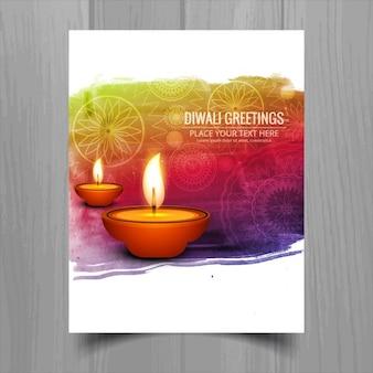 Folleto de diwali de pincelada con velas
