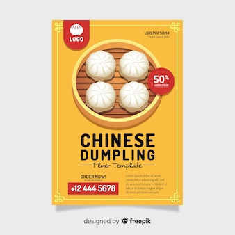 Folleto dumplings planos