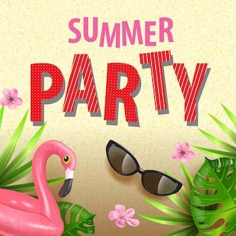 Folleto elegante de fiesta de verano con hojas tropicales, flores oink, gafas de sol y flamenco