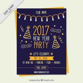 Folleto de elementos de fiesta de año nuevo en diseño vintage
