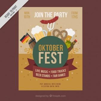 Folleto con elementos típicos para el festival de oktoberfest