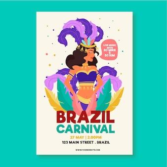 Folleto de evento de carnaval brasileño dibujado a mano