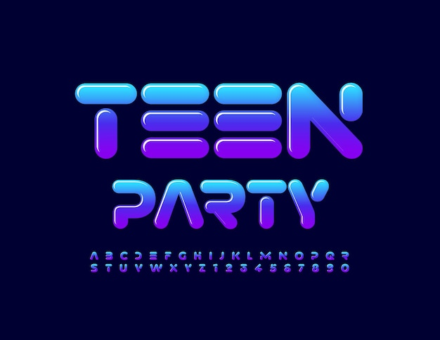 Folleto de evento de vector fiesta de adolescentes con estilo moderno conjunto de fuentes de letras y números del alfabeto de moda