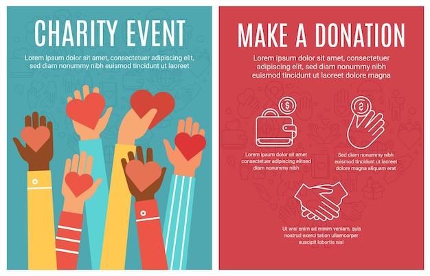 Folleto de eventos benéficos. cartel de donación y voluntariado. las manos donan corazones y elementos de icono de línea. concepto de vector de folleto de ayuda comunitaria. gente compartiendo dinero y amor con los brazos levantados.