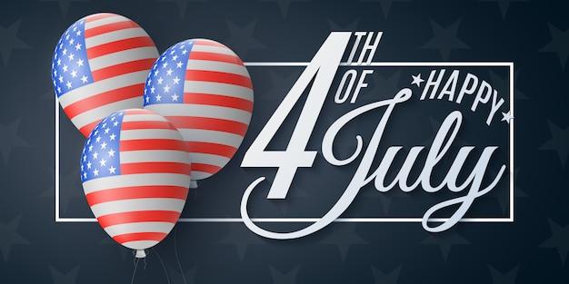 Folleto del feliz día de la independencia. 4 de julio. patrón de bandera de los estados unidos de américa.