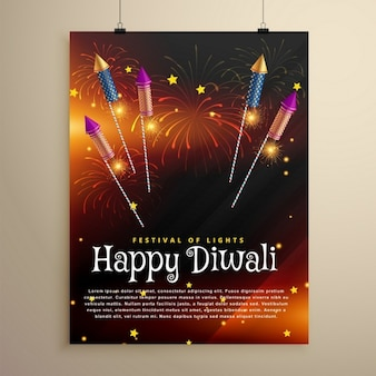 Folleto feliz diwali con fuegos artificiales