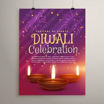 Folleto feliz diwali púrpura con luces y velas