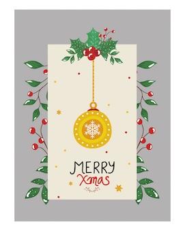 Folleto de feliz navidad con bolas colgantes y hojas decorativas