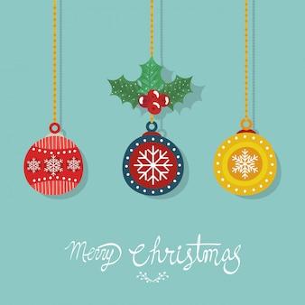 Folleto de feliz navidad con bolas decorativas colgando