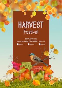 Folleto del festival de la cosecha de otoño o plantilla de póster