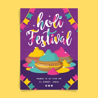 Folleto de festival holi dibujado a mano