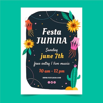 Folleto de festival de junio de diseño dibujado a mano