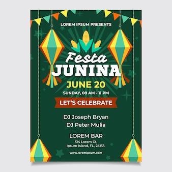 Folleto de festival de junio de estilo plano