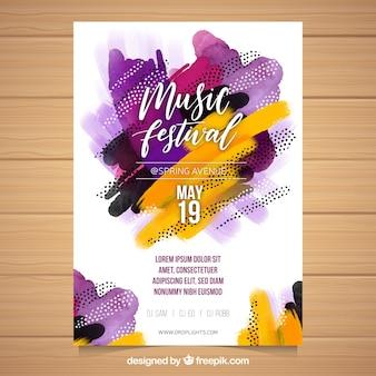 Folleto de festival de música con formas abstractas