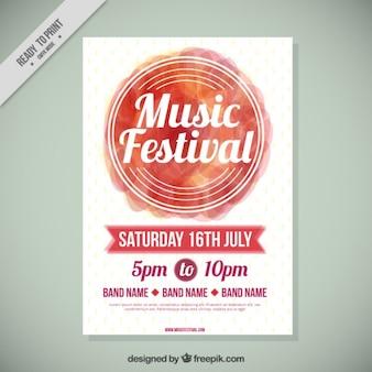 Folleto de festival de música moderno con círculo de acuarela