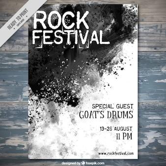 Folleto de festival de rock de acuarela negra