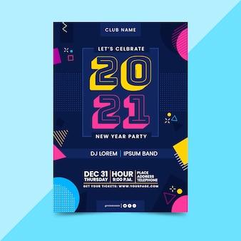 Folleto de fiesta abstracto año nuevo 2021