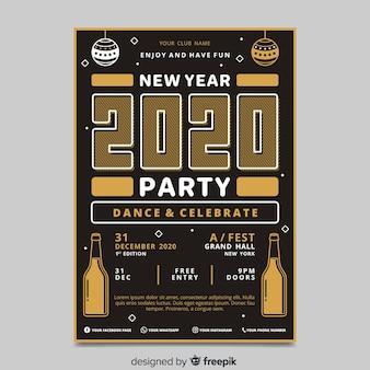 Folleto de fiesta de año nuevo 2020 en diseño plano