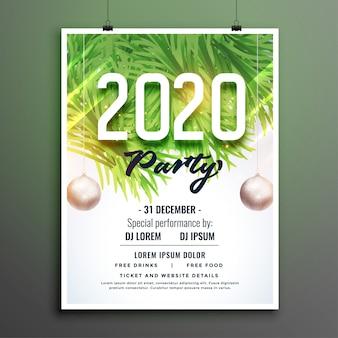 Folleto de fiesta de año nuevo 2020 o plantilla de póster