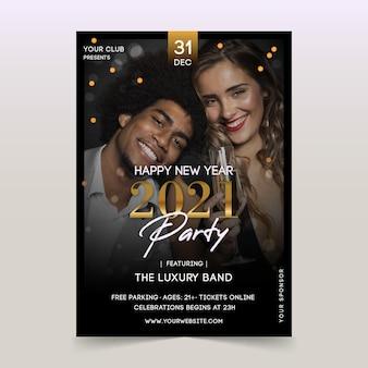 Folleto de fiesta de año nuevo 2021 amigos felices