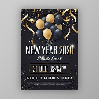 Folleto de fiesta de año nuevo abstracto de plantilla