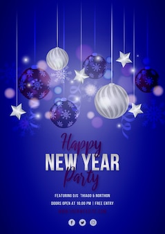 Folleto de fiesta de año nuevo azul con decoración azul y plateada