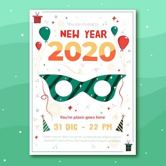 Folleto de fiesta de año nuevo dibujado a mano de plantilla