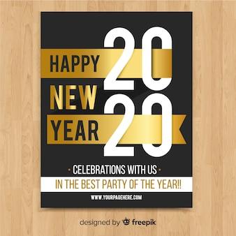Folleto de fiesta de año nuevo en oro