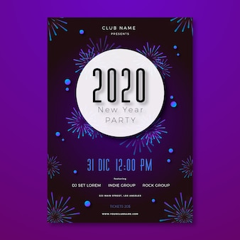 Folleto de fiesta de año nuevo de plantilla en diseño plano