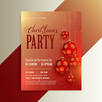 Folleto de fiesta brillante con bolas de navidad rojas