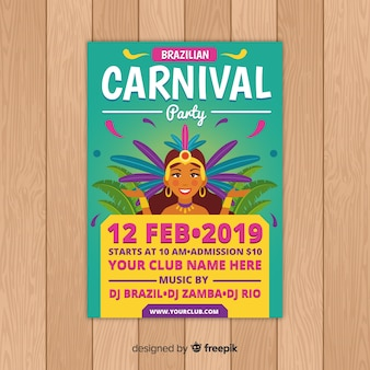 Folleto de fiesta del carnaval de brasil
