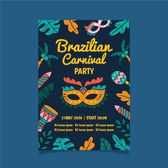 Folleto de fiesta de carnaval brasileño con hojas de neón