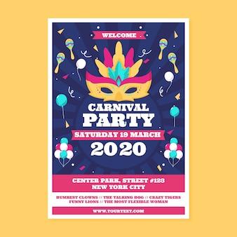 Folleto de fiesta de carnaval en diseño plano