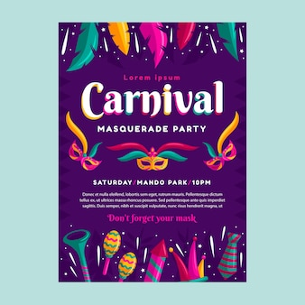 Folleto de fiesta de carnaval de estilo plano