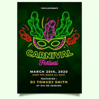 Folleto de fiesta de carnaval de máscara de festival verde