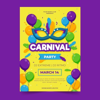 Folleto de fiesta de carnaval / plantilla de póster en diseño plano