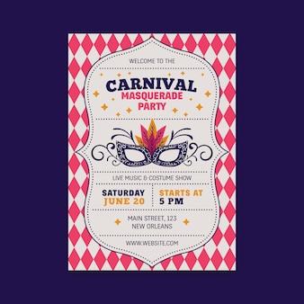 Folleto de fiesta de carnaval vintage con máscara