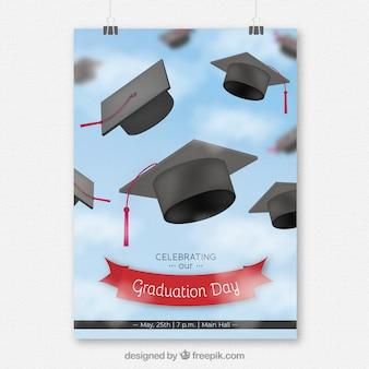 Folleto de fiesta de graduación con birretes