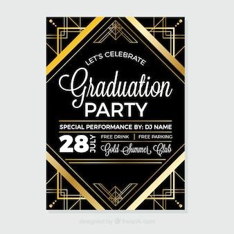 Folleto de fiesta de graduación dorado y negro con formas geométricas