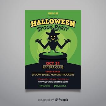 Folleto de fiesta de halloween de bruja y luz tóxica