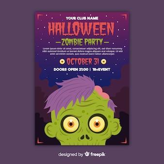 Folleto de fiesta de halloween de cabeza de zombie de primer plano