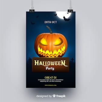 Folleto de fiesta de halloween de calabaza enojada tallada